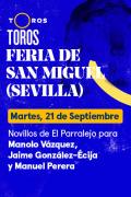 Feria de San Miguel. Sevilla(T2021) - Novillos de El Parralejo para  Manolo Vázquez, Jaime González-Écija y Manuel Perera (21/09/2021)